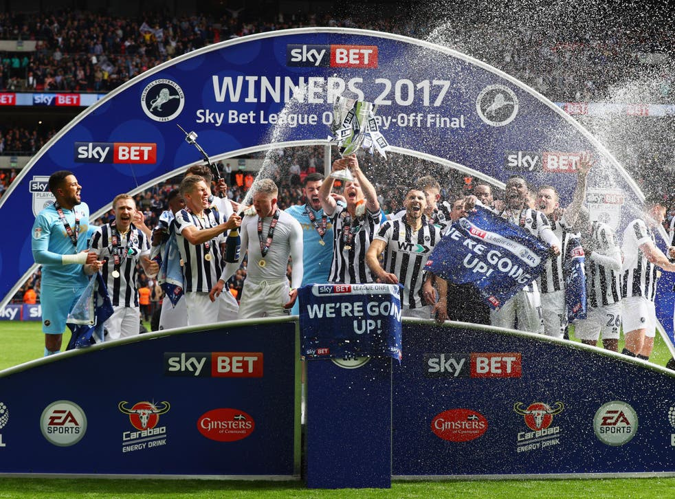 Millwall celebrate their return to the Championship