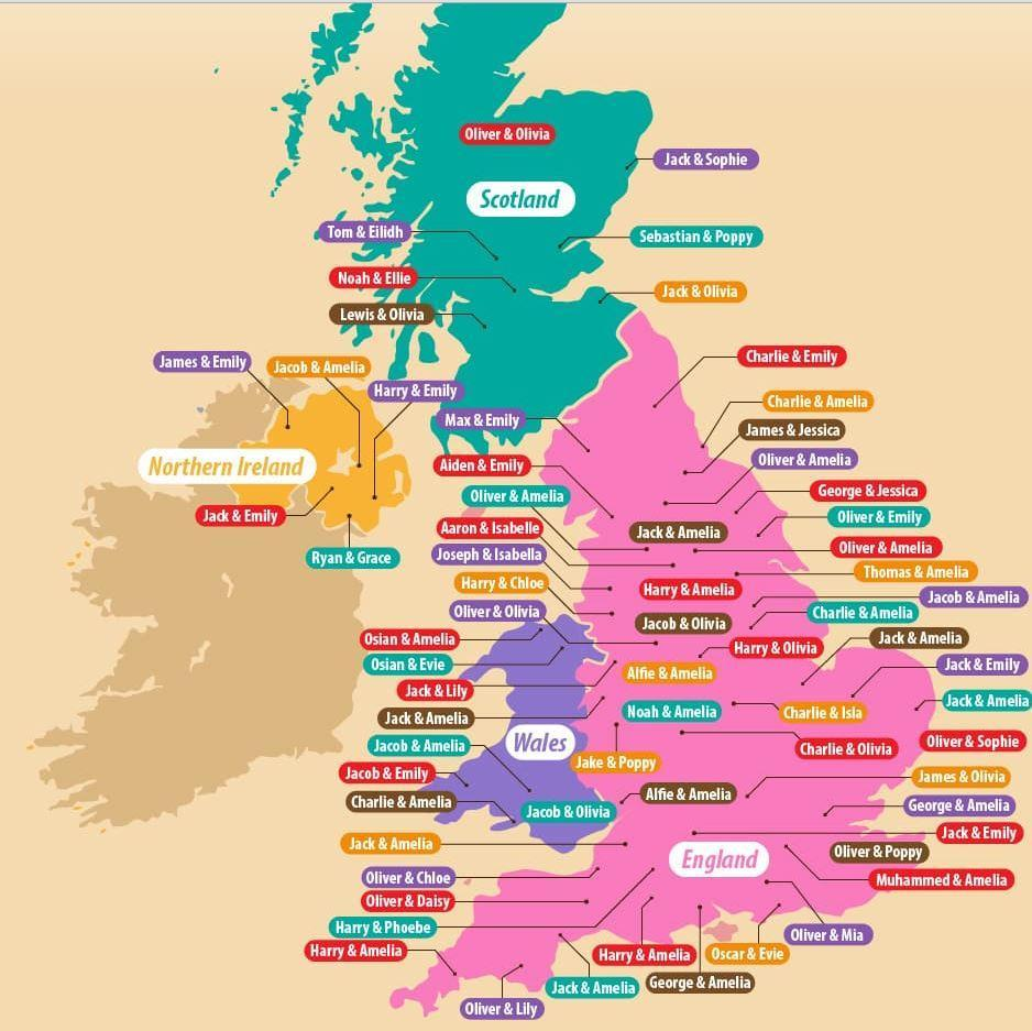 Map Of The Uk With Cities This map shows the most popular baby names in every UK city | indy100