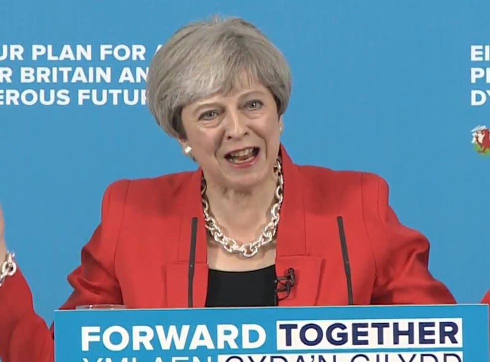 Prime Minister Theresa May faces journalists' questions about her social care policy