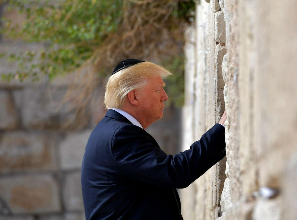 Trump visits the Western Wall, the holiest site where Jews can pray, in Jerusalem's Old City