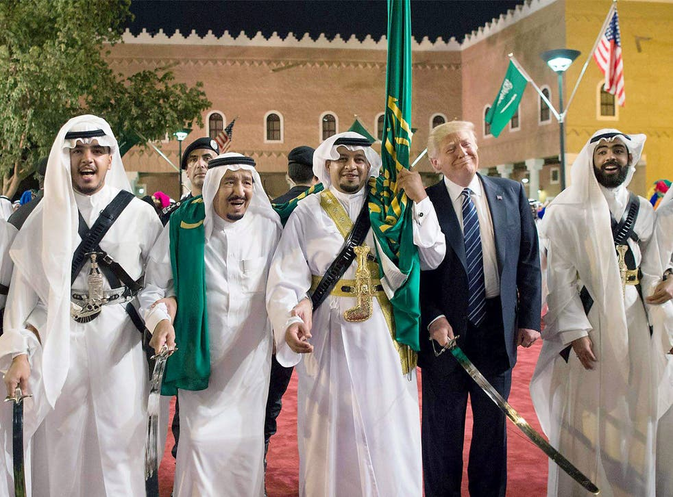 US President Donald Trump with King of Saudi Arabia Salman bin Abdulaziz Al Saud during the president's visit to the Middle East last month