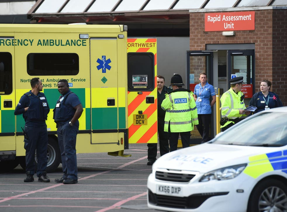 The scene outside Manchester Royal Infirmary this morning