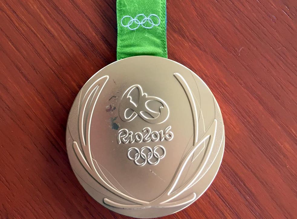 Kyle Snyder's damaged gold metal from the 2016 Rio Olympics