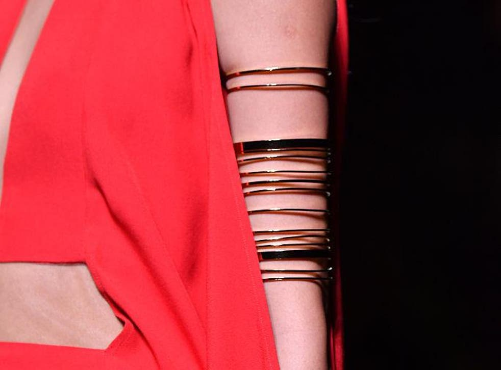 There were wrap around gold styles that varied in width at Balmain