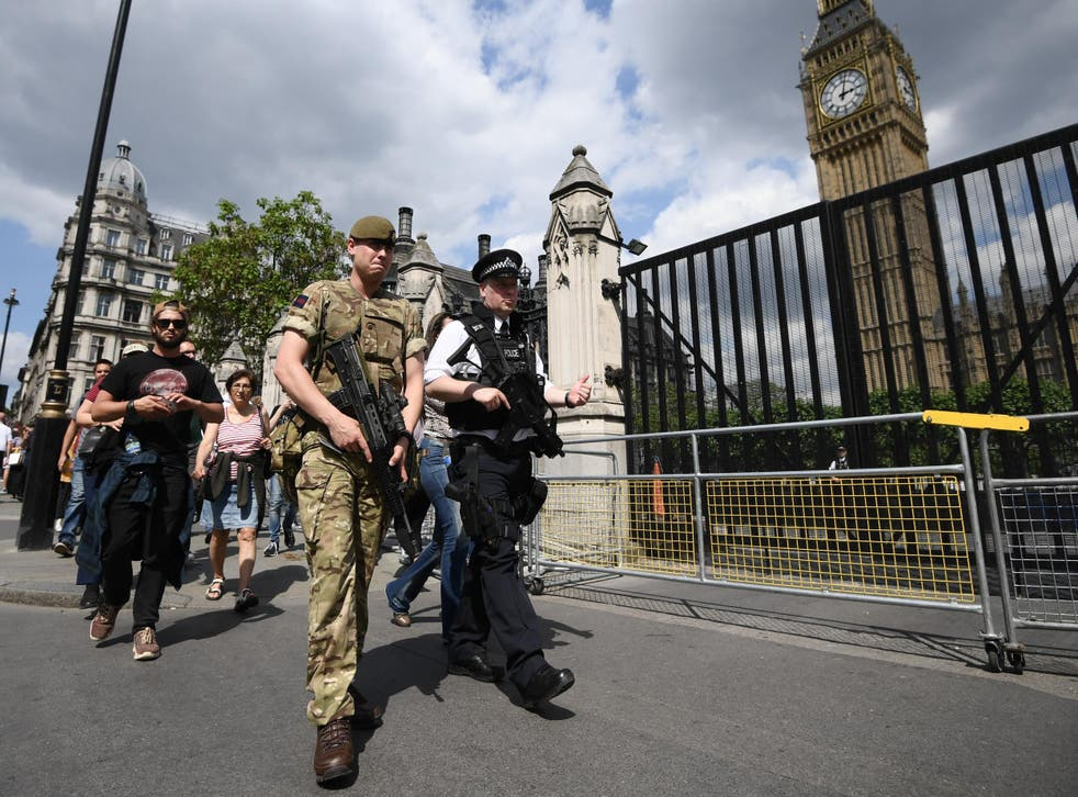Soldiers reinforce police outside the Palace of Westminster in London