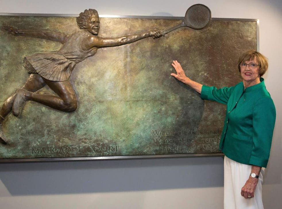 Margaret Court posing at an the opening ceremony of the Margaret Court Arena at the 2015 Australian Open tennis tournament in Melbourne
