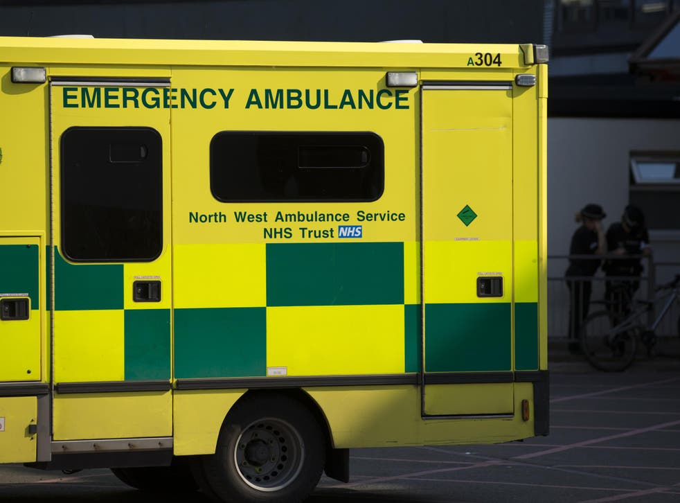 An ambulance is seen at the Manchester Royal Infirmary Hospital in Manchester, northwest England, on May 25, 2017 where some of the injured victims of the May 22 Terror attack at the Manchester Arena are being cared for