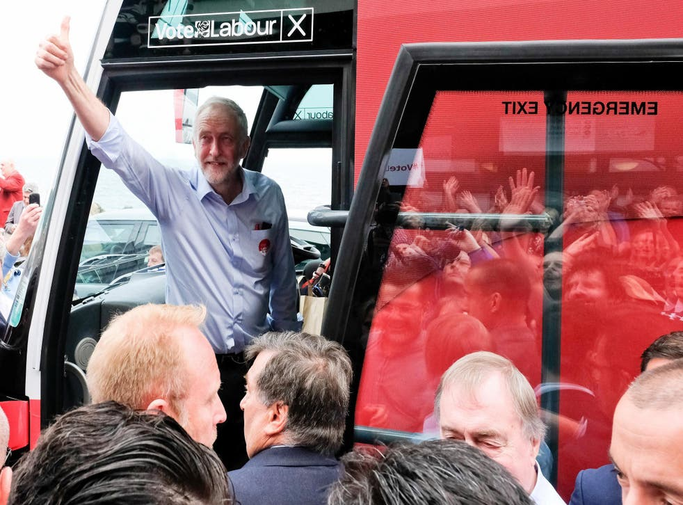 Labour Leader Jeremy Corbyn leaves on the campaign bus after speaking to supporters during a visit to the Spa buildings on Scarborough seafront