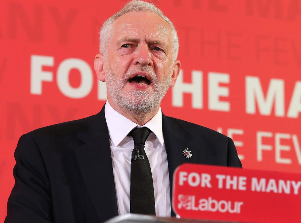 Jeremy Corbyn giving a speech on terrorism and foreign policy in London, 26 May 2017