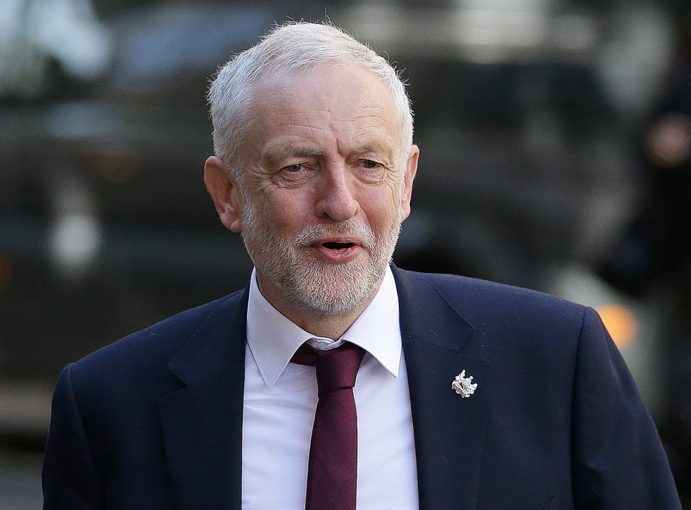 Britain's main opposition Labour party leader Jeremy Corbyn arrives to make a general election campaign speech in central London