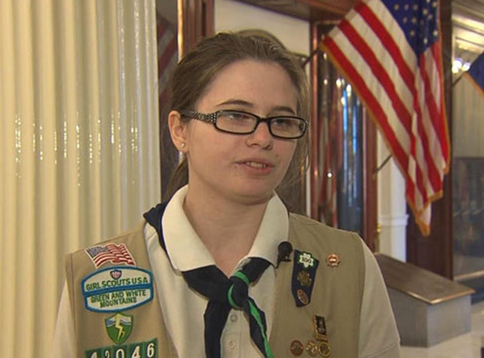 Girl Scout Cassandra Levesque, 17, of New Hampshire