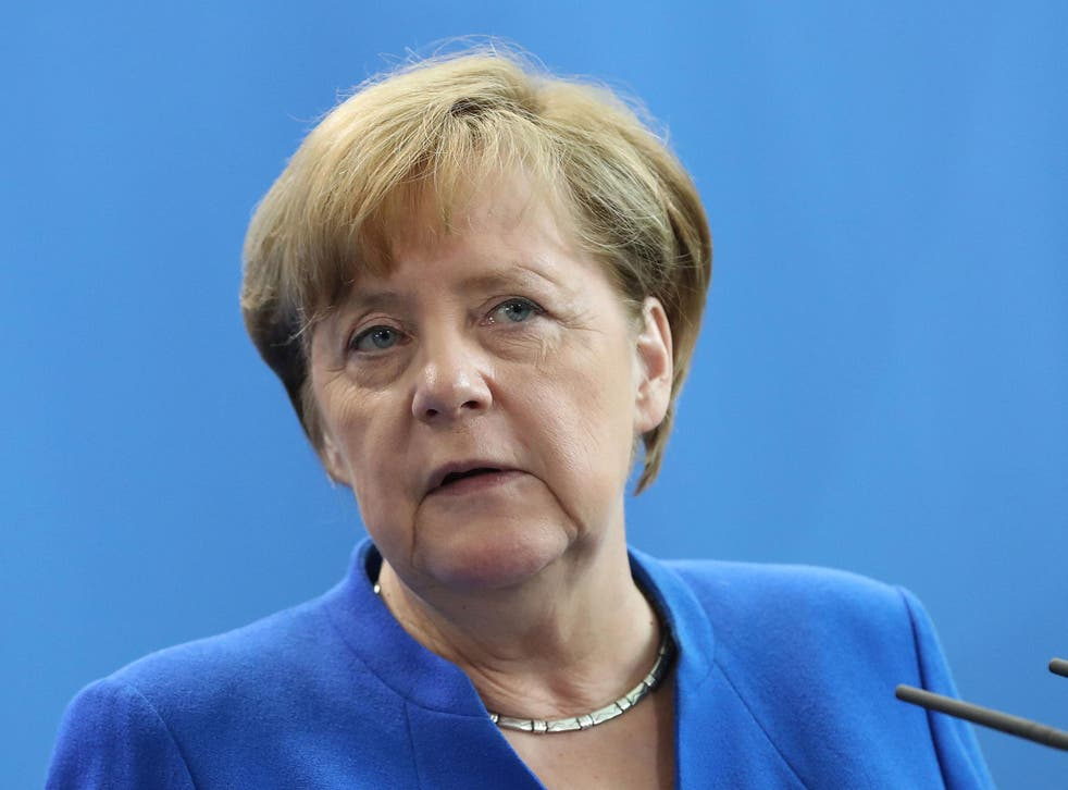 German Chancellor Angela Merkel at a signing ceremony of agreements between the German and Indian governments at the Chancellery in Berlin, Germany