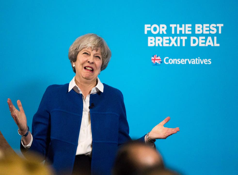 Theresa May speaks at a campaign rally in Wolverhampton