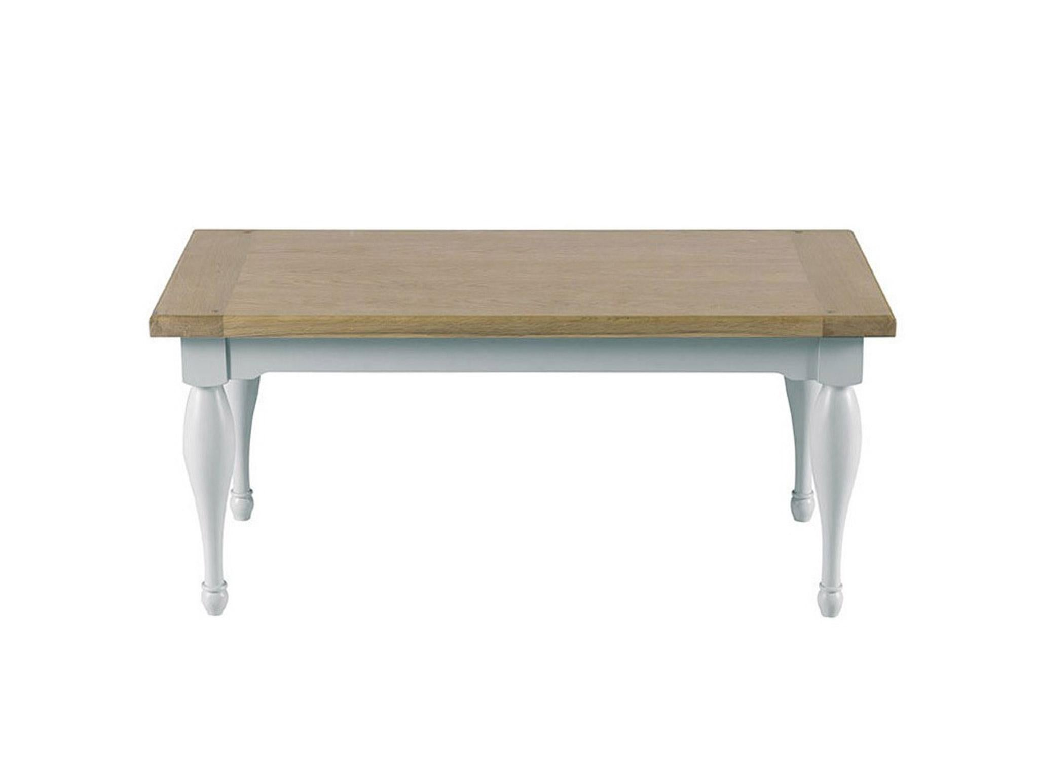 This wooden coffee table has just a hint of country styling with turned legs and base in birch with a light grey painted finish