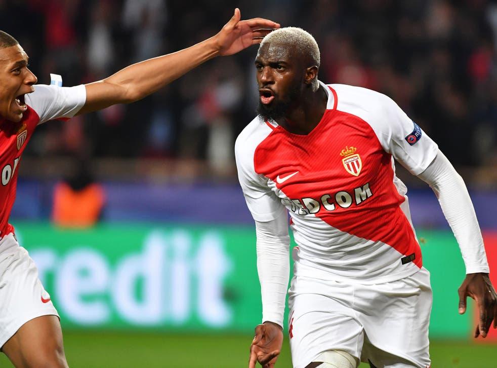 Tiemoue Bakayoko celebrates scoring for AS Monaco against Man City