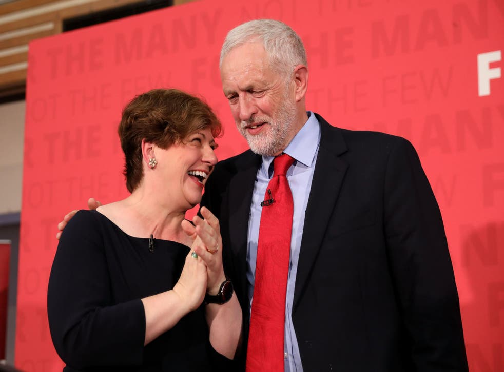 Emily Thornberry and Jeremy Corbyn after the party leader delivered a speech on Labour's plan for Brexit negotiations at Pitsea Leisure Centre on June 1, 2017