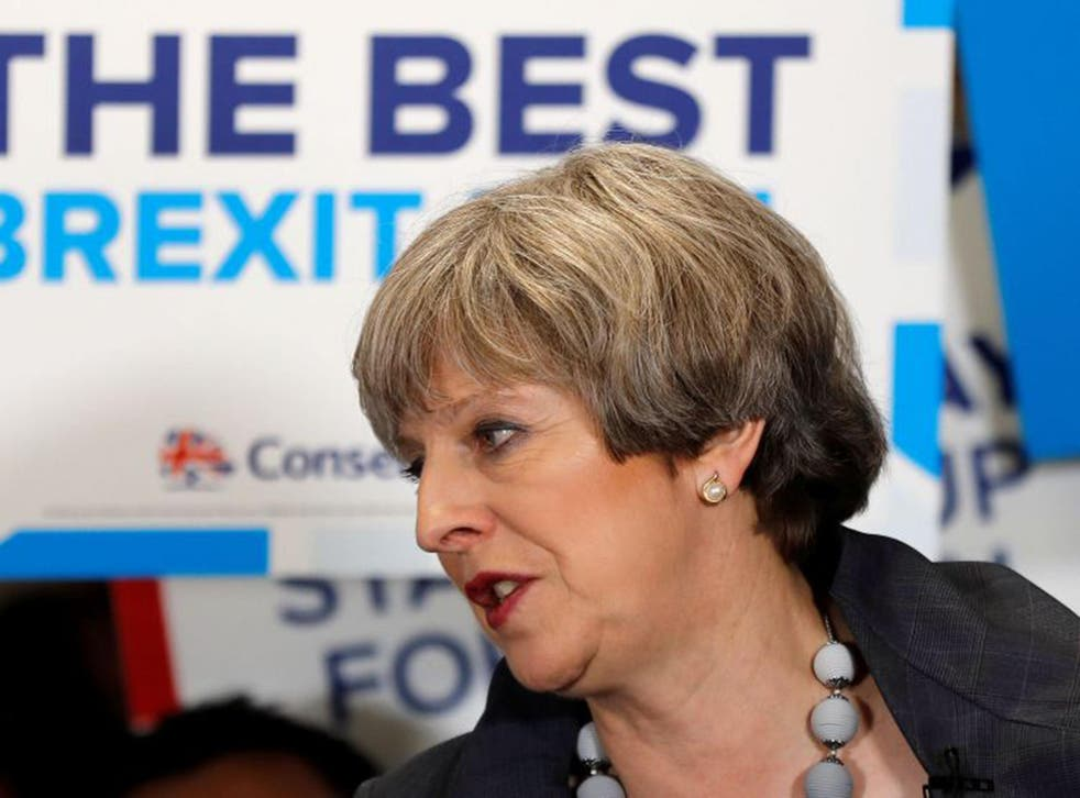 Theresa May speaks at an election campaign event at Pride Park Stadium in Derby