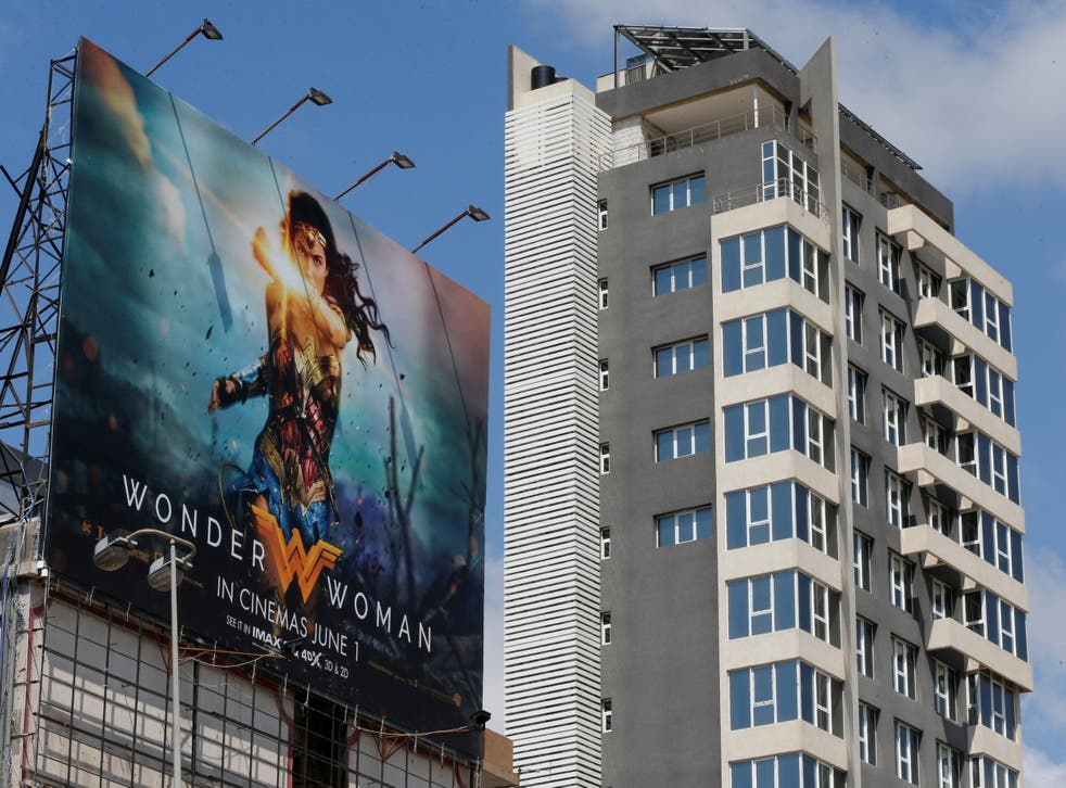 A billboard advertising Warner Brothers' new release on a highway east of Beirut, Lebanon, on 31 May 2017 – the same day the film was banned