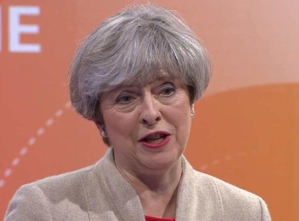 Theresa May talking in the BBC Question time special