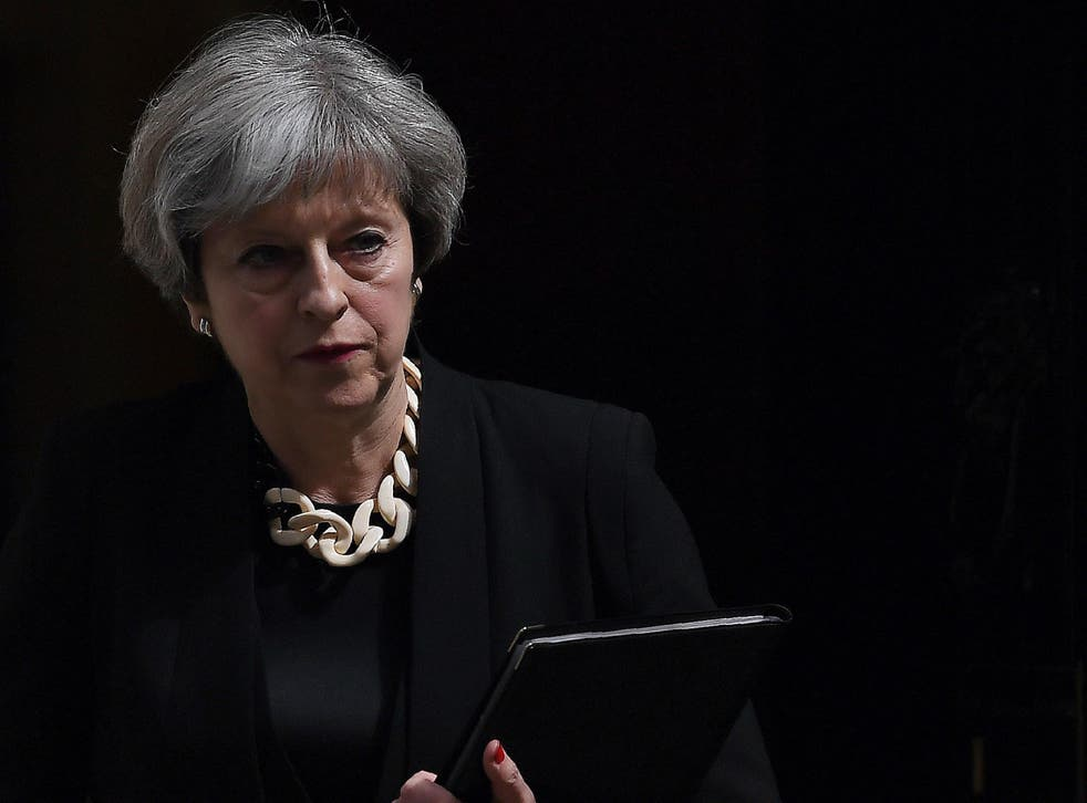 Britain's Prime Minister Theresa May at 10 Downing Street delivering a statement after the london terror attacks
