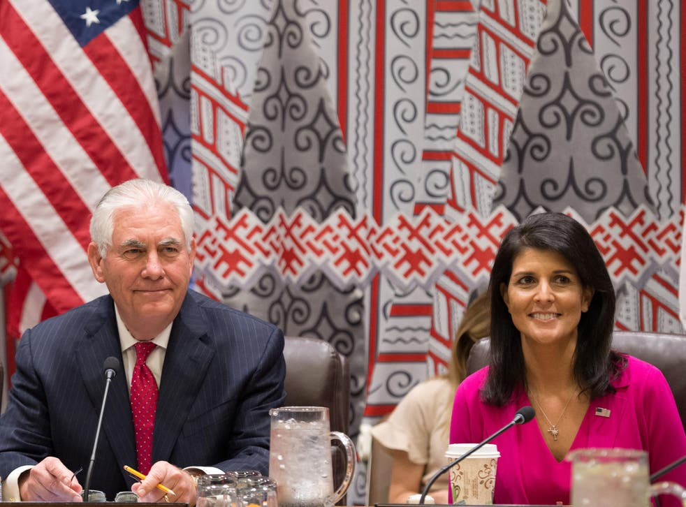 US Secretary of State Rex Tillerson and Ambassador Nikki Haley attend a trilateral meeting with representatives from Japan and South Korea at the United Nations in New York City on 28 April 2017