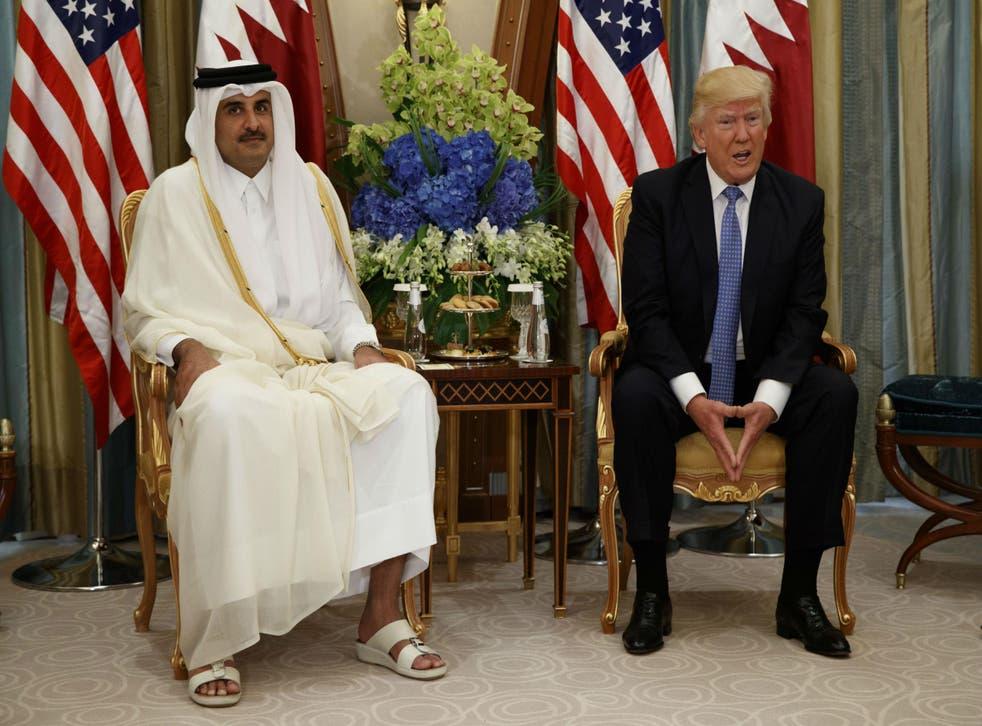 Mr Trump spoke with Qatar's Emir Sheikh Tamim Bin Hamad Al-Thani in Riyadh