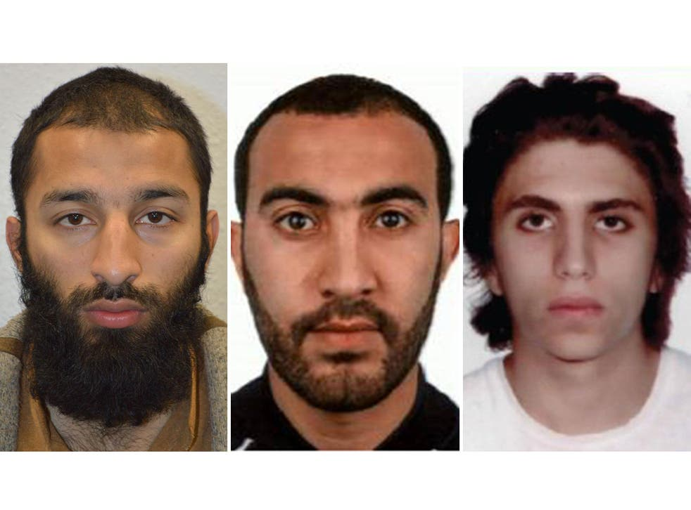 Images provided by Met Police of murderers (left to right) Khuram Butt, Rachid Redouane and Youssef Zaghba