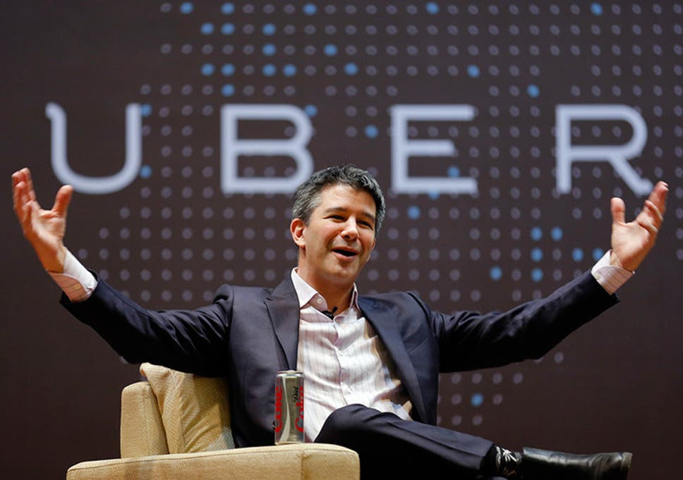 Uber's founder and former CEO Travis Kalanick in a corporate event open his arms wide open with a smile