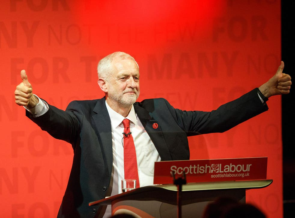 Jeremy Corbyn, the Labour leader, hosts a general election rally at the Old Fruitmarket, Candleriggs, in Glasgow, Scotland