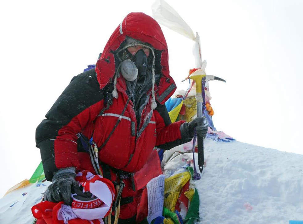 Ian Toothill on the top of Mount Everest