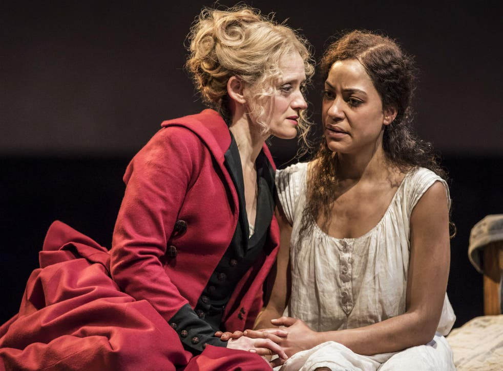 Anne-Marie Duff (Mary) and Cush Jumbo (Laura) in 'Common' at the National Theatre