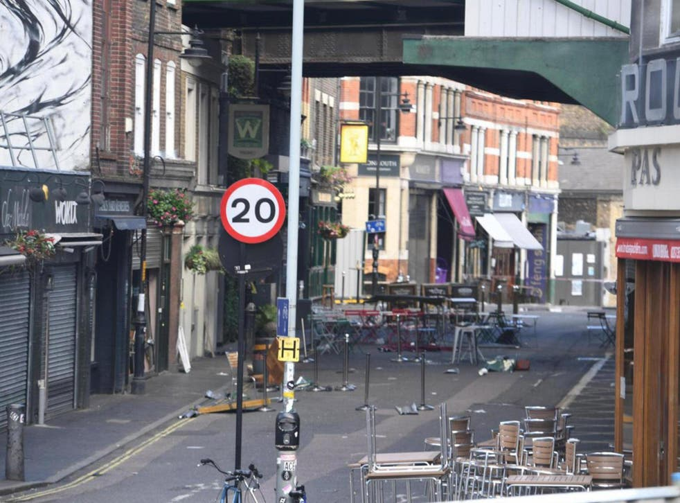Stoney Street outside Borough Market, where pub-goers were caught up in the attacks