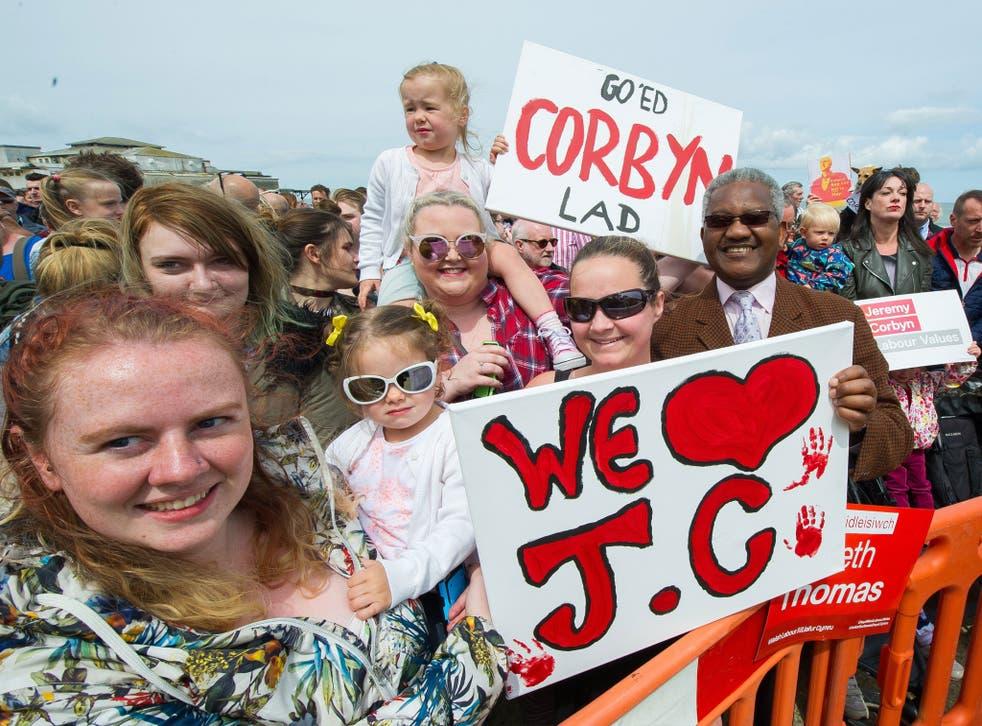 Jeremy Corbyn supporters listening to the Labour leader speak in Colwyn Bay
