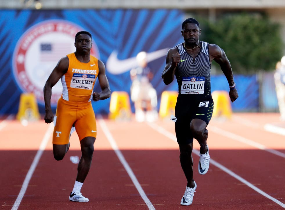 Christian Coleman (left) at the 2016 USA Olympic Track and Field team trials