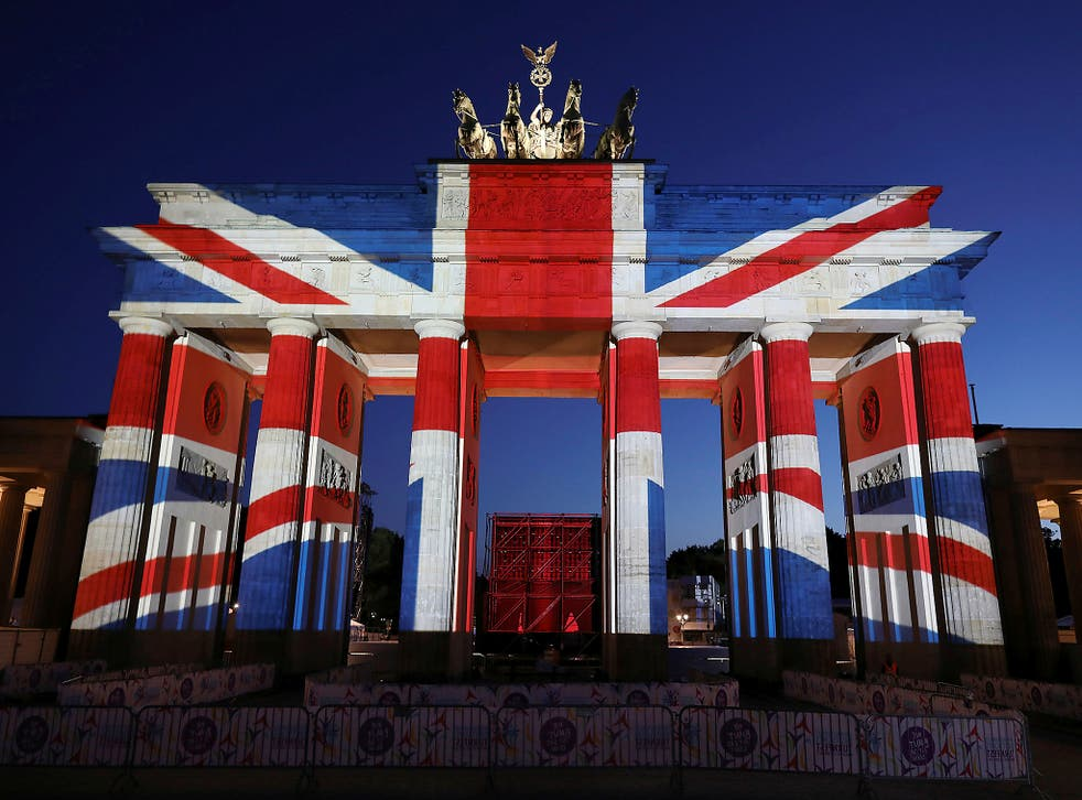 Berlin's Brandenburg Gate, illuminated in the colours of the Union Jack