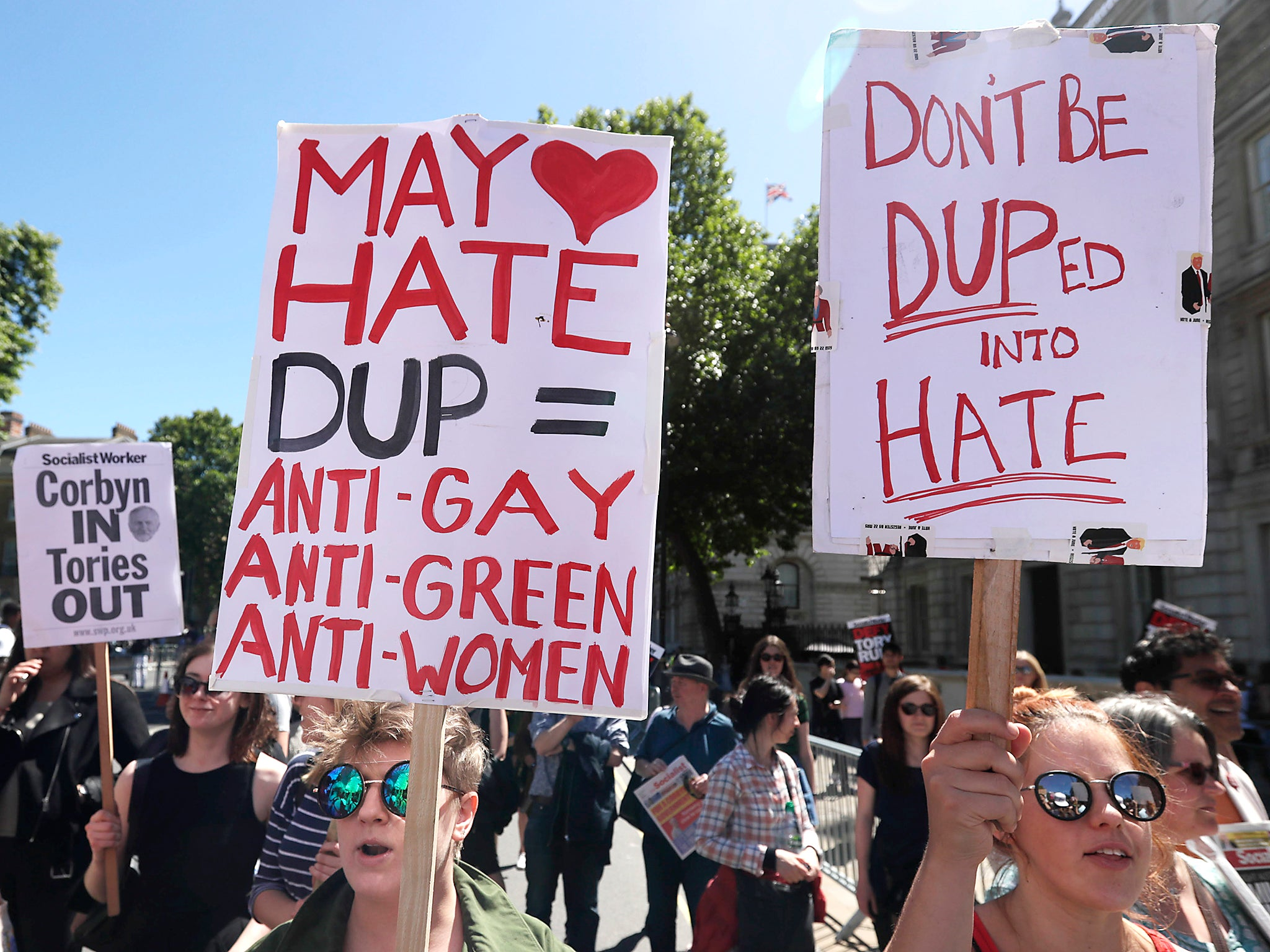 Hundreds descend on Parliament to protest Theresa May's DUP deal