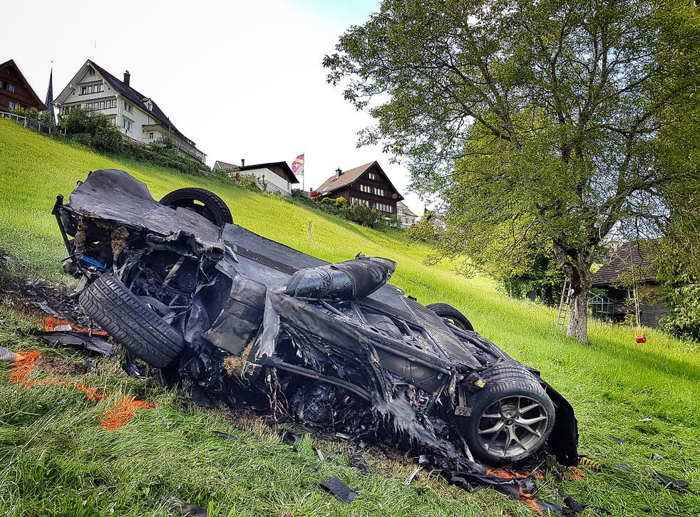 This photo issued by Freuds shows the car that was involved in a crash where Richard Hammond escaped serious injury, in Switzerland