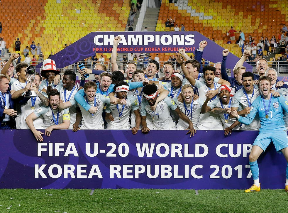 England players celebrate after defeating Venezuela 1-0 to win the final of the FIFA U-20 World Cup Korea 2017 at Suwon World Cup Stadium in Suwon, South Korea