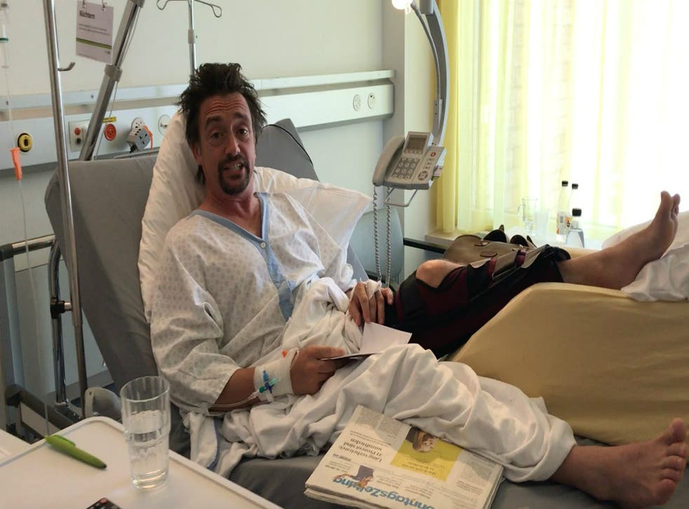 The presenter gets a leg up as he waits to be operated on