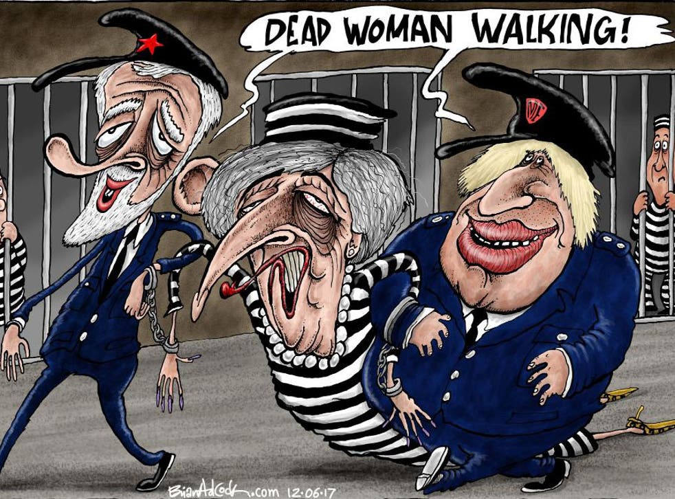 Theresa May being dragged away by Boris Johnson and Jeremy Corbyn