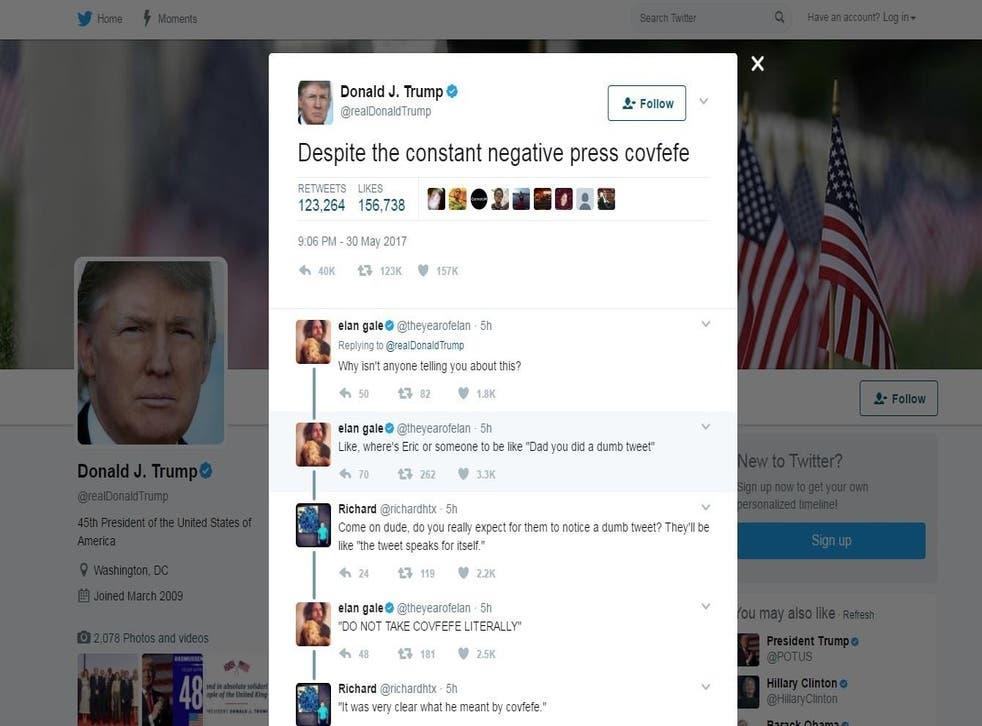 A screengrab of Donald Trump's mysterious 'covfefe' tweet