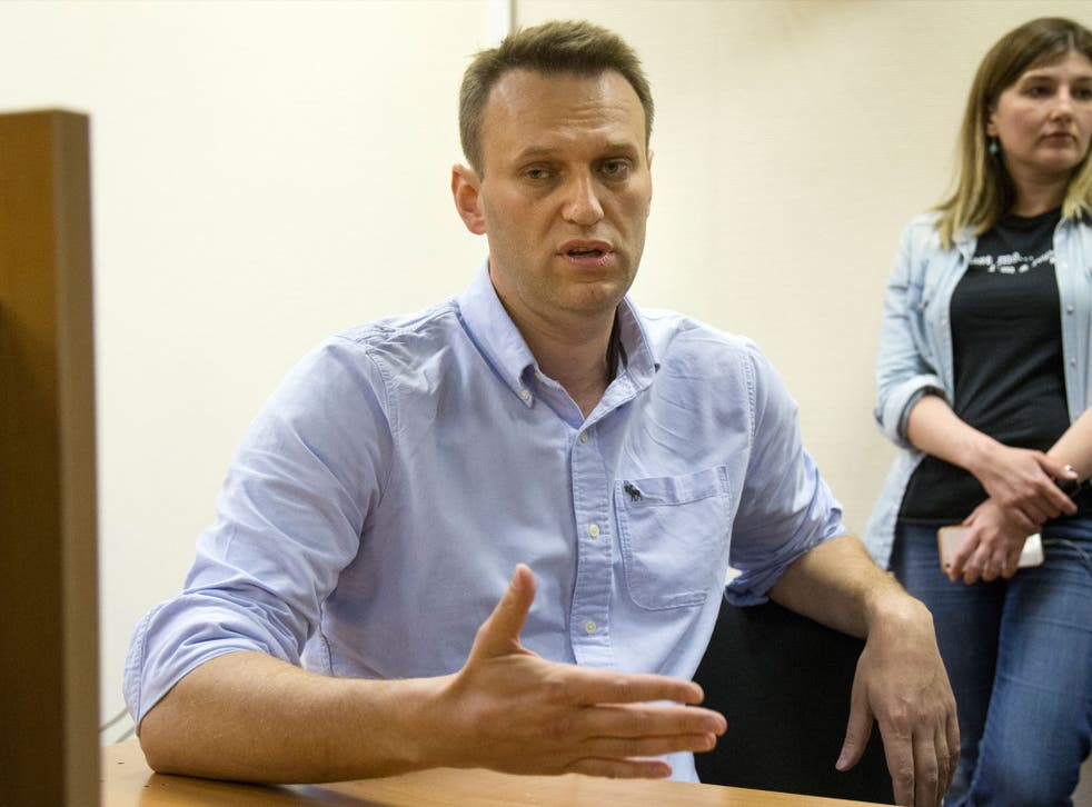 Mr Navalny was detained on his way to a protest in central Moscow