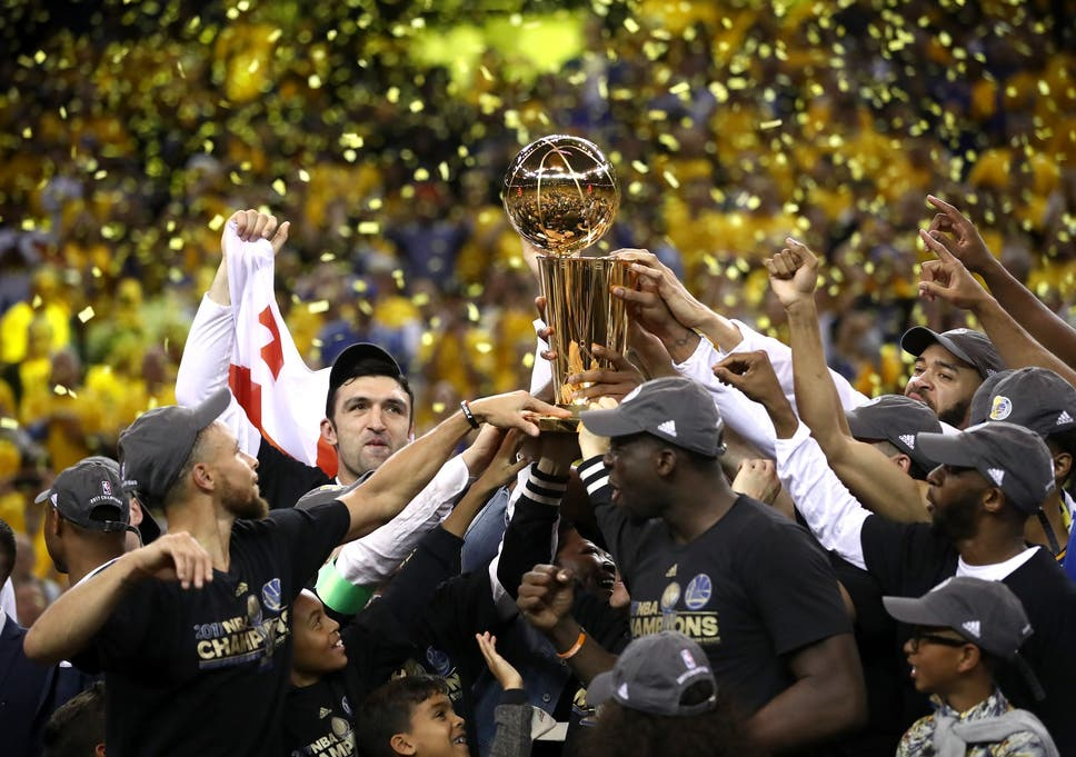7e7f9d3017f The Golden State Warriors celebrate winning the NBA Finals after beating  the Cleveland Cavaliers 4-