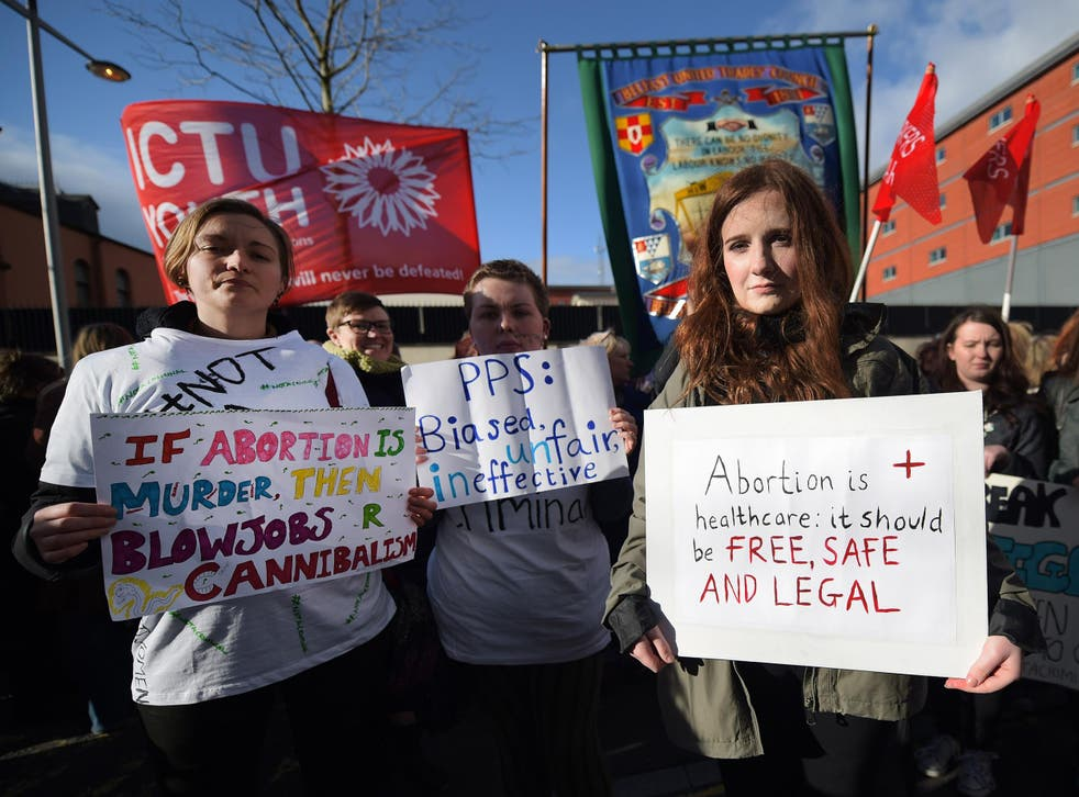 Pro-choice supporters protesting against the abortion ban in Northern Ireland