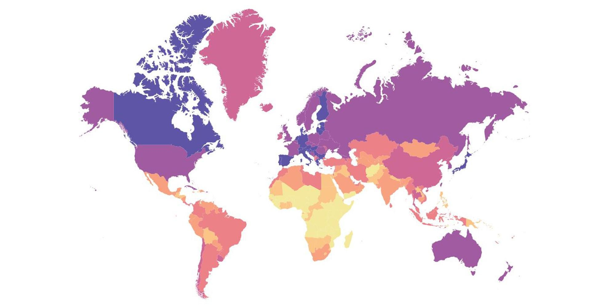 A Map Of The Average Age Of Every Country In The World Indy100
