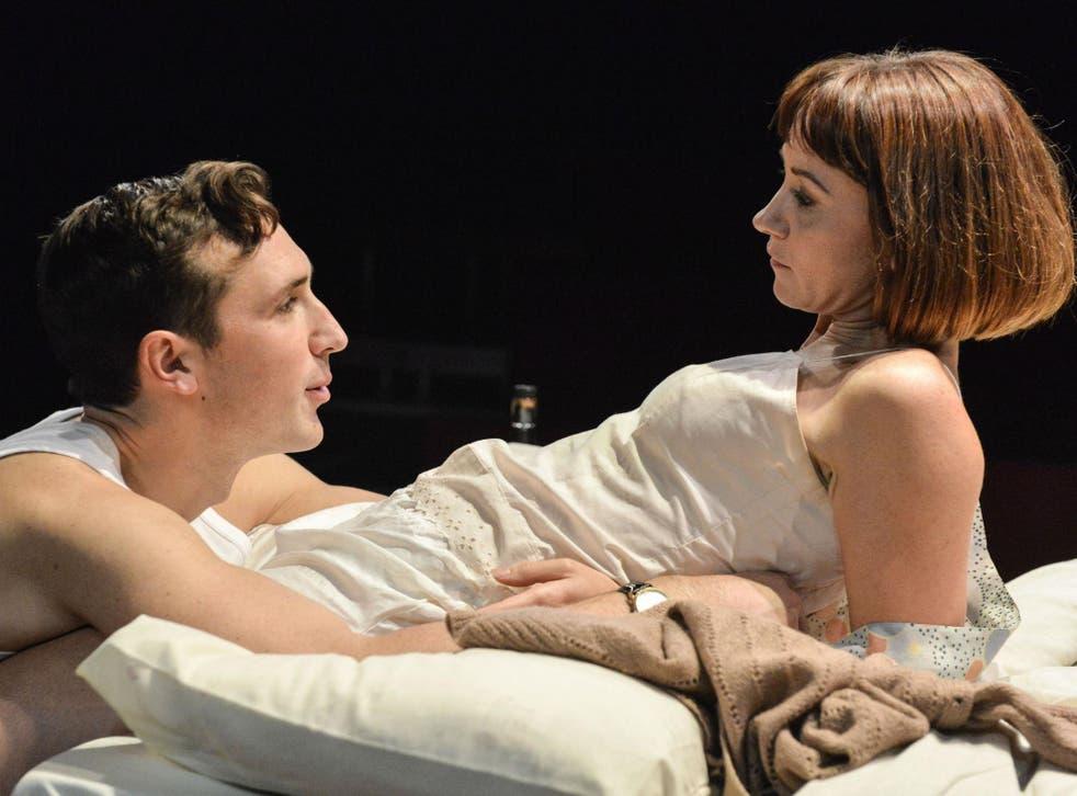 Ben Lloyd-Hughes as Dennis and Claire Lams as Stephanie in 'KIss Me' at Trafalgar Studios