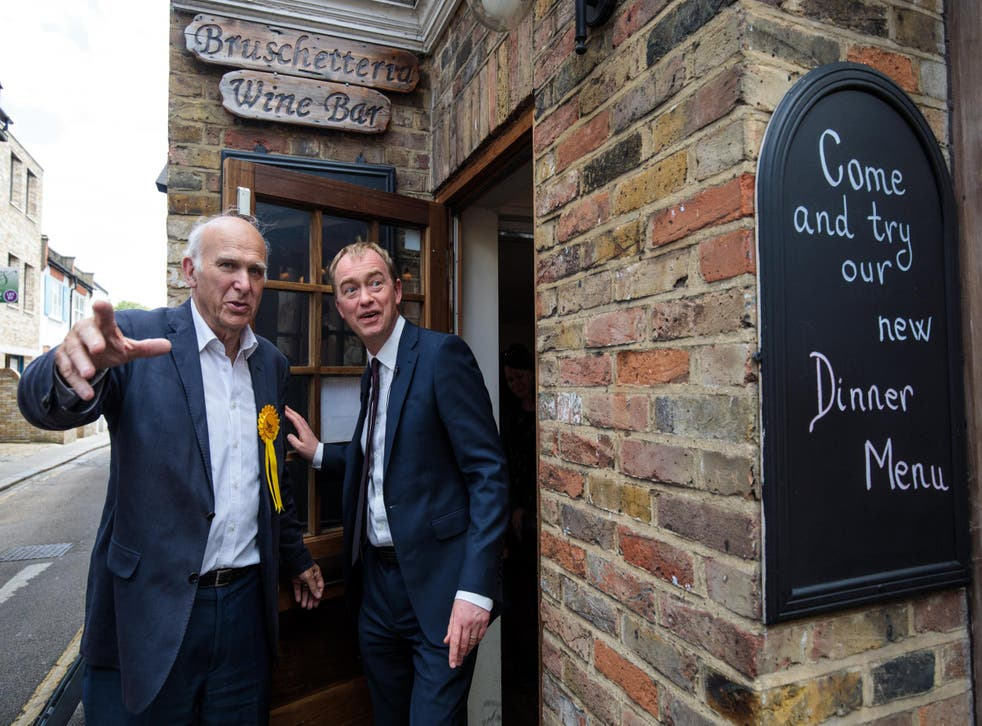 Sir Vince Cable campaigns with Tim Farron in the run up to election day