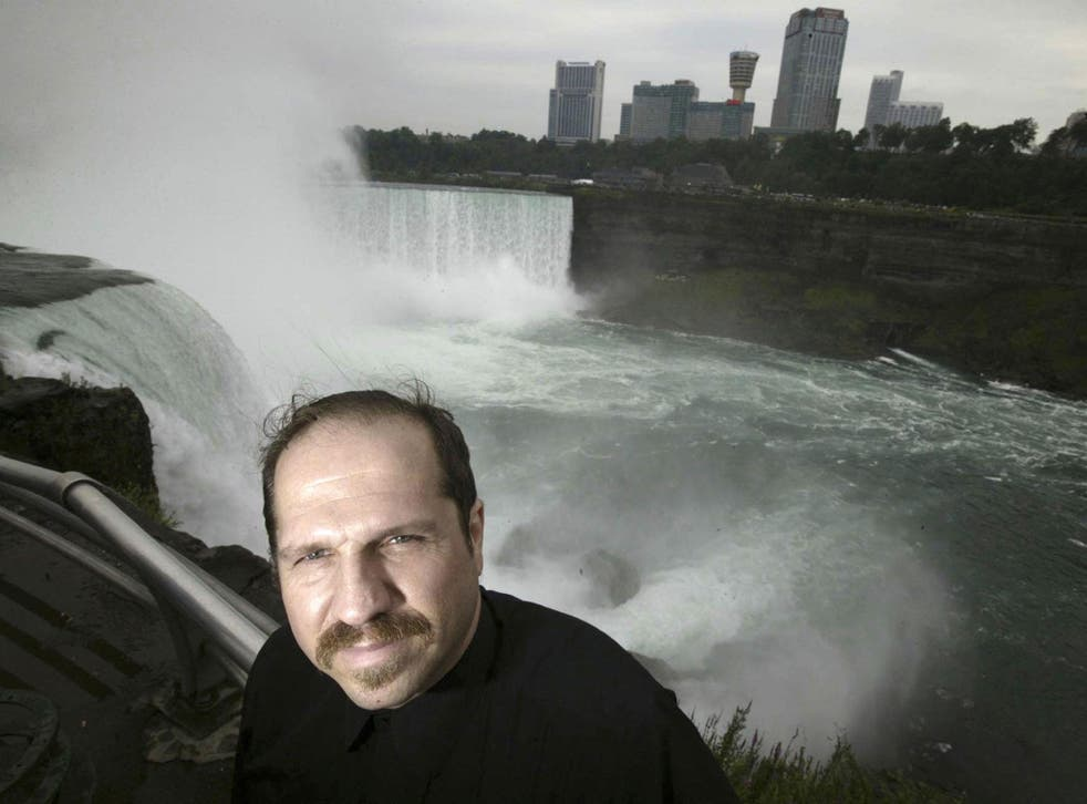 Kirk Jones poses for a photo at Terrapin Point on the American side of Horseshoe Falls in Niagara Falls State Park in 2004