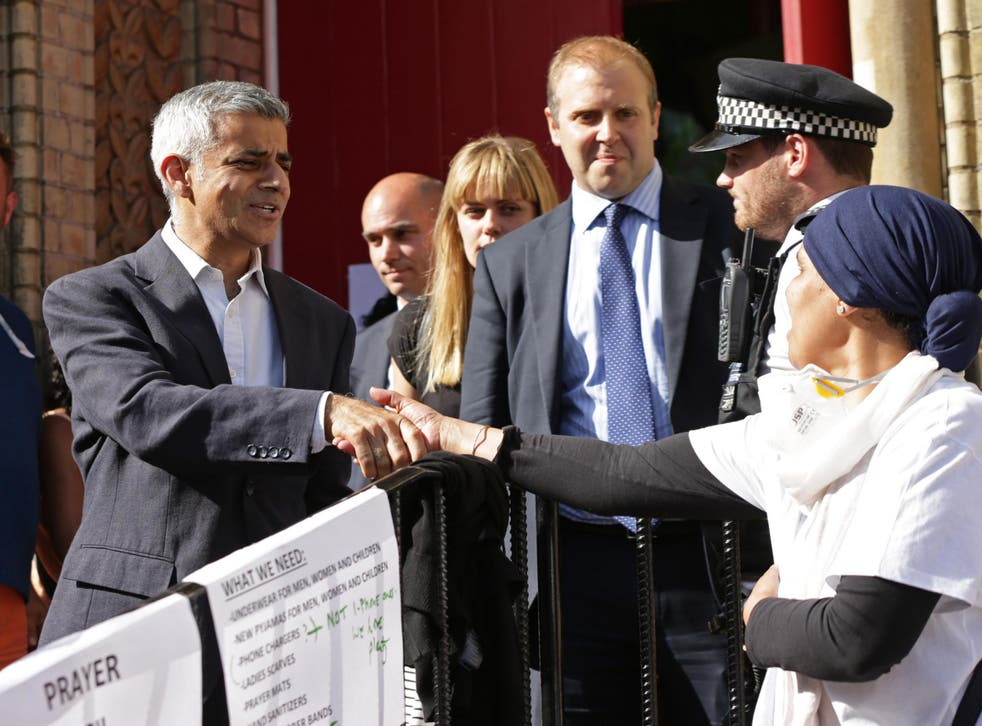 Mayor of London Sadiq Khan leaves Notting Hill Methodist Church near Grenfell Tower