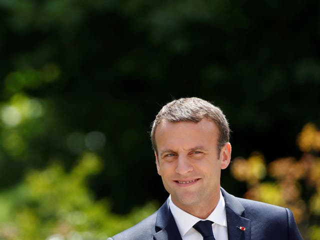 French President Emmanuel Macron during a news conference at the Elysee Palace on 16 June